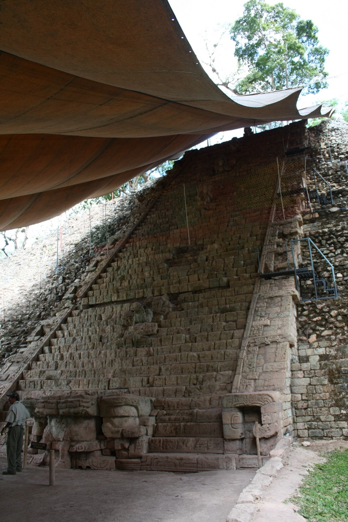 Restored Mayan temple steps in Copan, Honduras