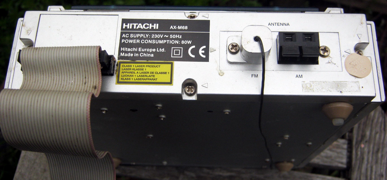 Hitachi AX-M68 Tuner/CD player rear