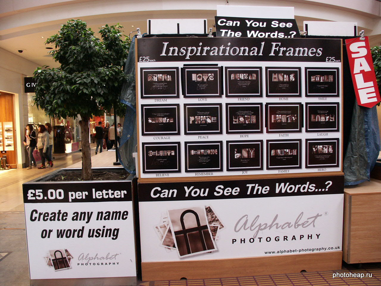 Inspirational frames stand. Can you see the words?