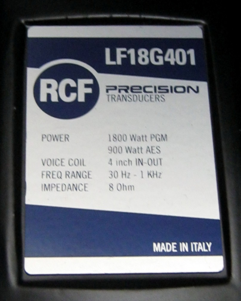 RCF LF18G401 speaker label